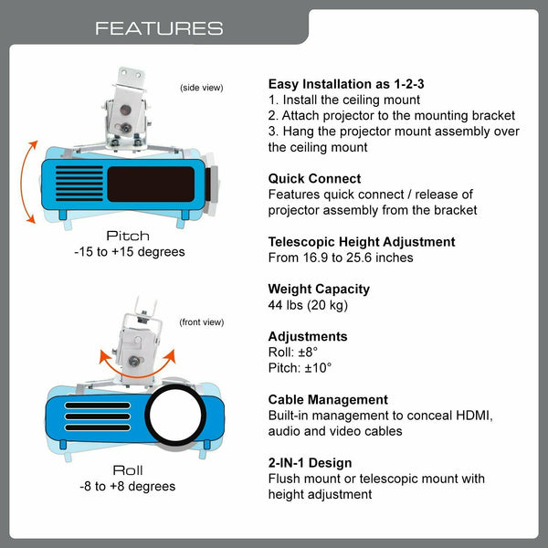 QualGear® QG-PM-002-WHT Universal Projector Ceiling Mount, White