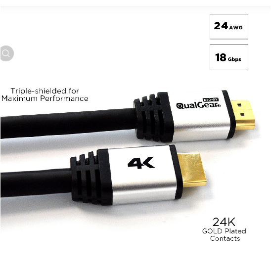 Qualgear® 100 Feet High-Speed Long HDMI 2.0 Cable with 24K Gold Plated Contacts and RedMere Active, Supports 4K Ultra HD, 3D, 18 Gbps, Audio Return Channel,CL3 Rated for In-Wall Use (QG-CBL-HD20-100FT)