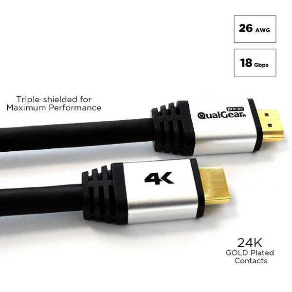 QualGear® 30 Ft High-Speed Long HDMI 2.0 Cable with 24K Gold Plated Contacts, Supports 4K Ultra HD, 3D, 18 Gbps, Audio Return Channel,CL3 Rated for In-Wall Use (QG-CBL-HD20-30FT)