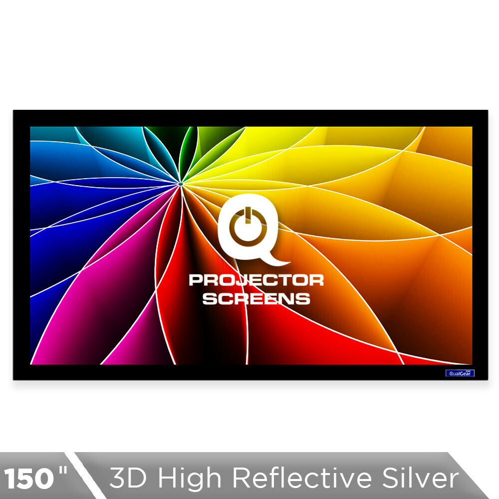 QualGear® QG-PS-FF6-169-150-S 16:9 Fixed Frame Projector Screen, 150-Inch 3D High Reflective Silver 2.5 Gain