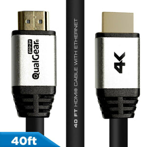 QualGear® 40 Ft High-Speed Long HDMI 2.0 Cable with 24K Gold Plated Contacts, Supports 4K Ultra HD, 3D, 18 Gbps, Audio Return Channel,CL3 Rated for In-Wall Use (QG-CBL-HD20-40FT)