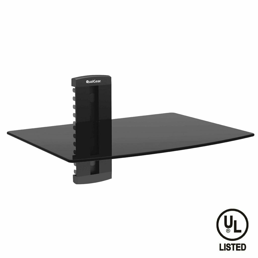 QualGear® UL Listed Universal Single Shelf Wall Mount for A/V Components, Black (QG-DB-001-BLK)