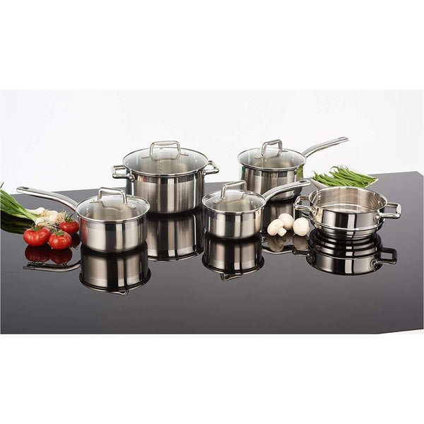 T-Fal G707S954 Stainless Steel Inspire Techno Release 9pc Cookware Set