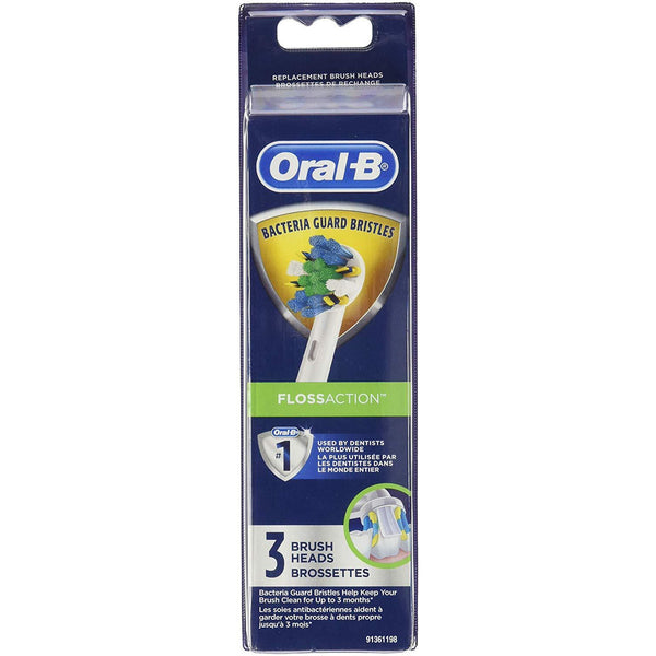 Oral-B Floss Action Electric Toothbrush Replacement  Heads, 3 Count, 2 Pack