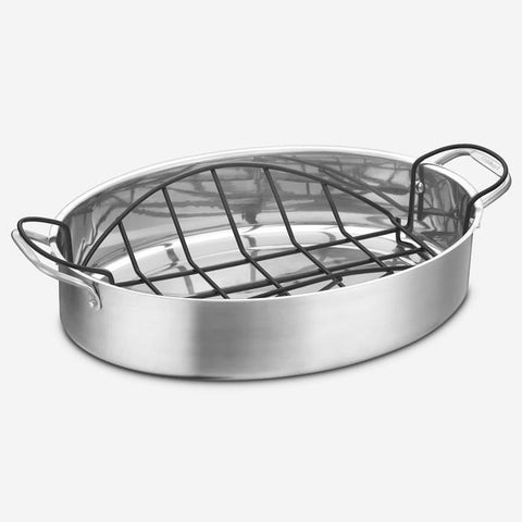 "Cuisinart (87117-17ORMC) 17"" Oval Stainless Steel Roasting Pan with Non-Stick Rack"