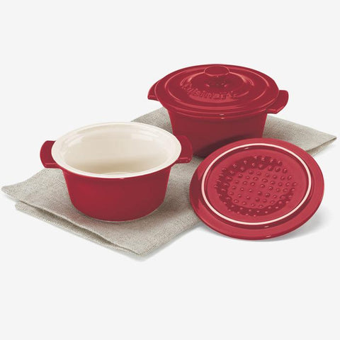 Cuisinart CCB610-2RC 10 oz. (295 ml) Set of 2 Mini Round Covered Cocottes - Red