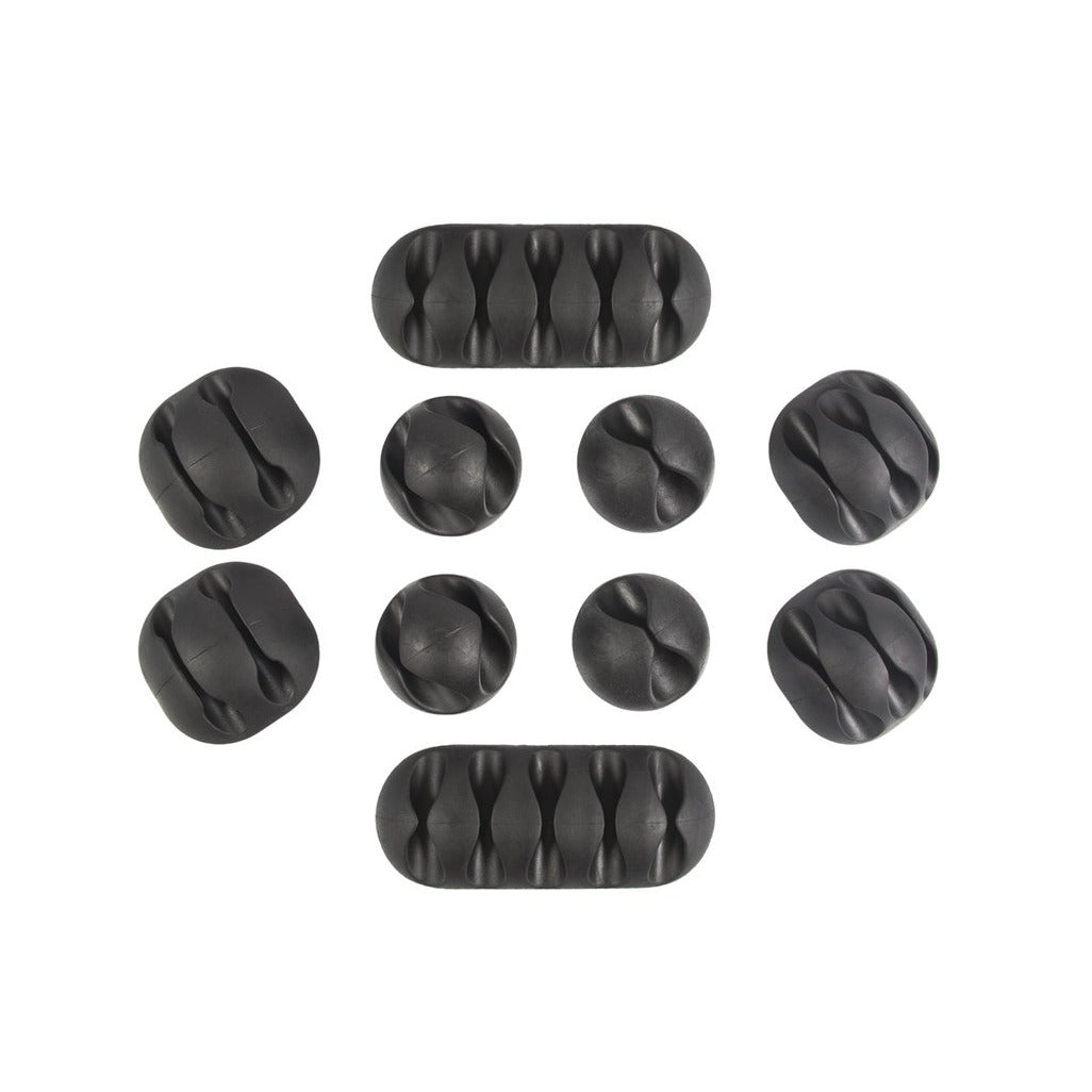 QualGear Multipurpose Cable Clips Holders, Black, 10 Pack, CCH-B-10-B