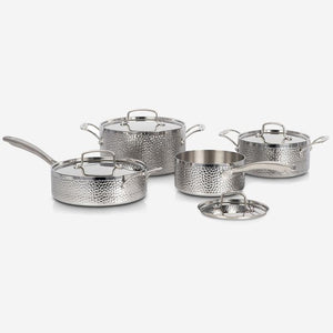 Cuisinart (HTP-8SSC) 8 Piece, Vintage Hand Hammered Tri-Ply Cookware Set