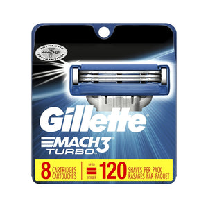Gillette Mach3 Turbo Cartridges Men's Razor Blade Refills, 8 Count
