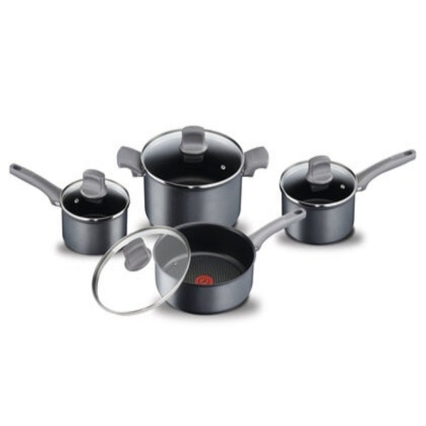"T-FAL G1029052 Induction Character France Grey 8pc Set ""Blemished Packaging- Manufacturer Refurbished, Good as NEW (Comes with One Year Manufacturer Warranty, Direct to the Customer)"""