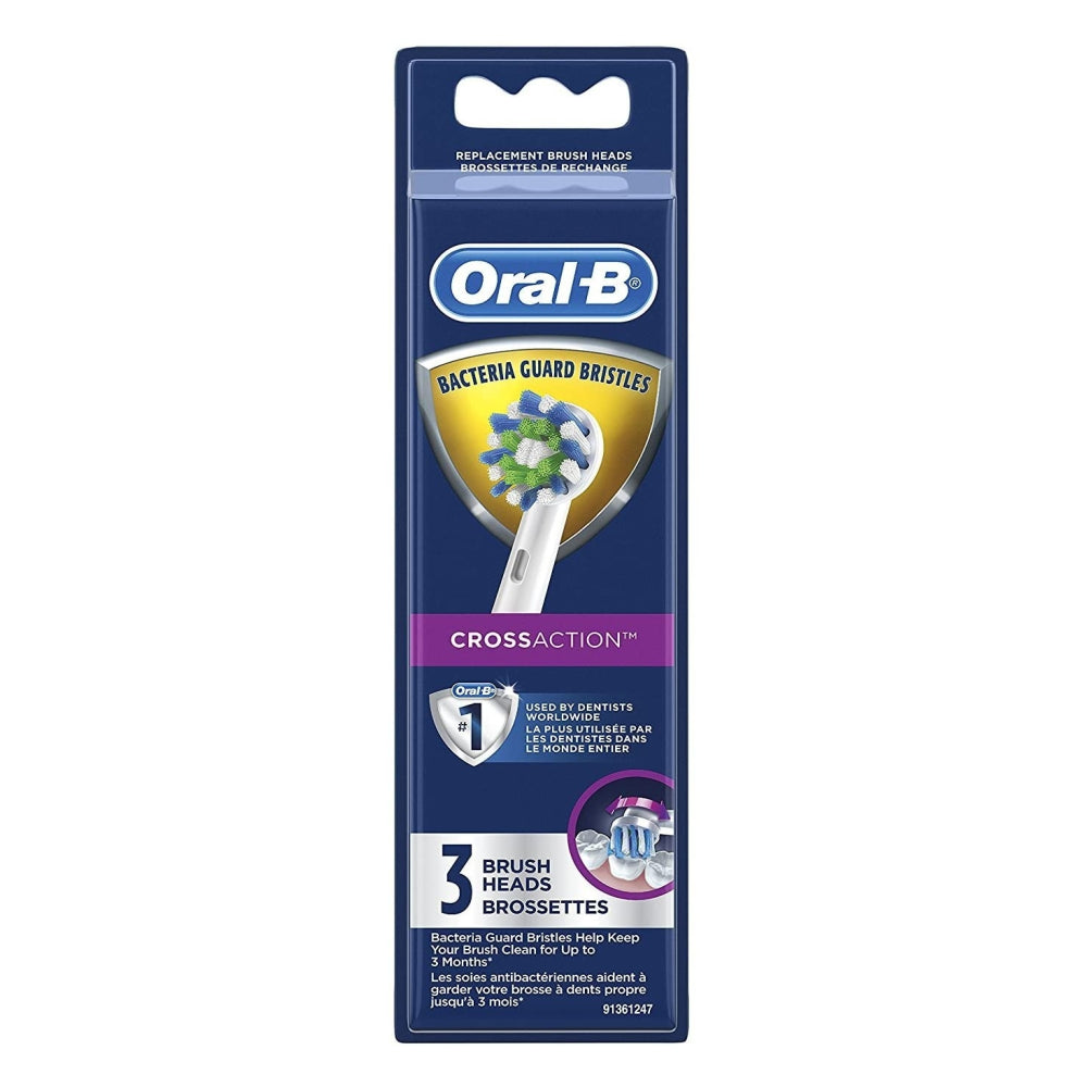 Oral-B CrossAction Electric Toothbrush Replacement 3 Pack Bacteria Guard Brush Heads