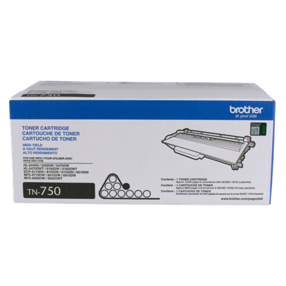 Brother Printer TN750 High Yield Toner Cartridge, Yields approx. 8,000 pages