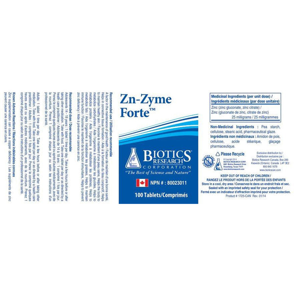 Biotics Research - Zn-Zyme Forte Dietary Supplement 100 Tablets -Zinc Supplement