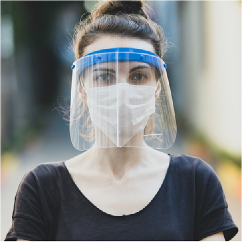 "Surgical Safety Face Shield, Reusable Full Face Protective Mask with Adjustable Band  "" HFS-01 PPE - 500 Microns """