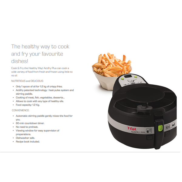 T-FAL GH806250 ACTIFRY PLUS MULTI-COOKER 1.2KG (BLACK)- Blemished Package 1YR W