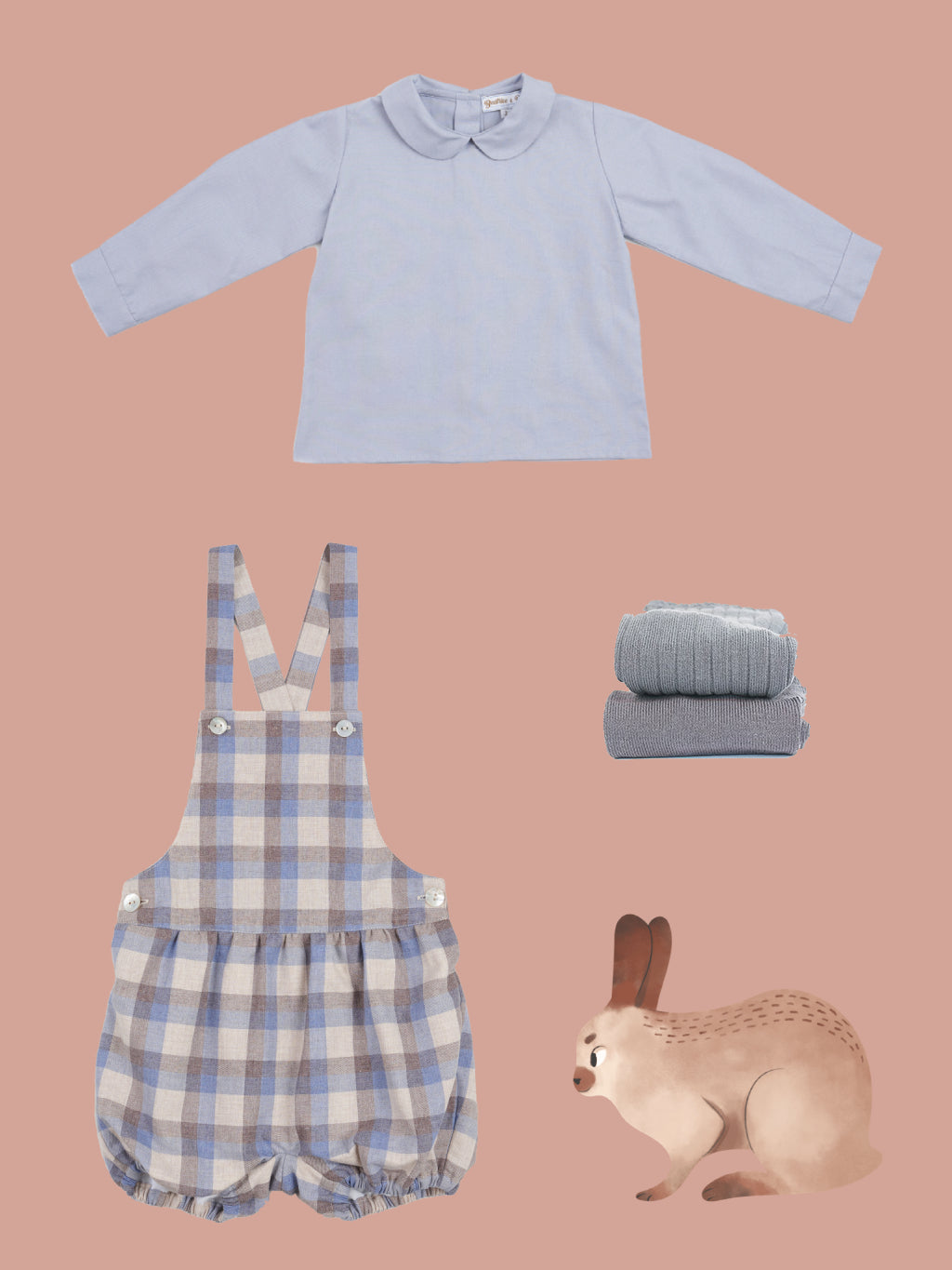 autumn baby boy outfit in grey and blue