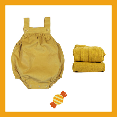 mustard baby romper and tights