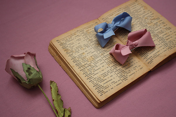 vintage book and hair bows
