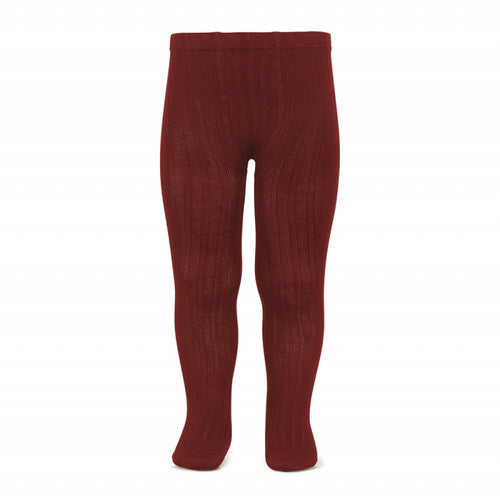 Ribbed Tights Burgundy