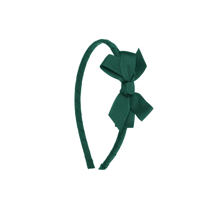 Small Bow Hairband Bottle Green
