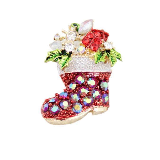 Fashion Chain Jewelry Christmas Shoes Rhinestone Brooch Jewelry