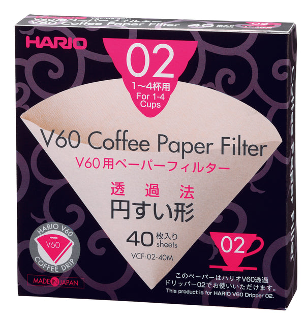 HARIO V60 PAPER FILTERS 02 DRIPPER 40 SHEETS - UNBLEACHED - Barista Shop