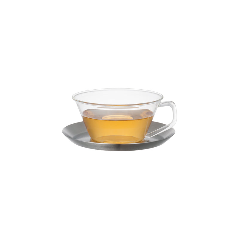 Kinto Cast Stainless Steel Tea Cup and Saucer Set 220 ml - Barista Shop