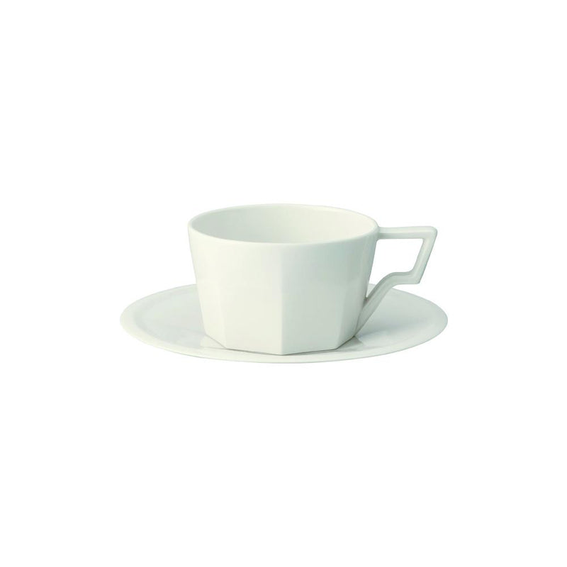 Kinto Oct Cup and Saucer - White 300ml - Barista Shop