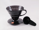 Hario Coffee Dripper V60 with Filters and Coffee Scoop - Size 02 Black - Barista Shop