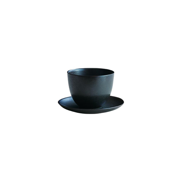 Kinto Pebble Cup and Saucer Black 180ml - Barista Shop
