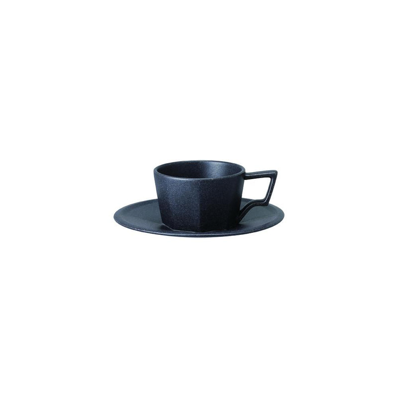 Kinto Oct Cup and Saucer - Black 80ml - Barista Shop