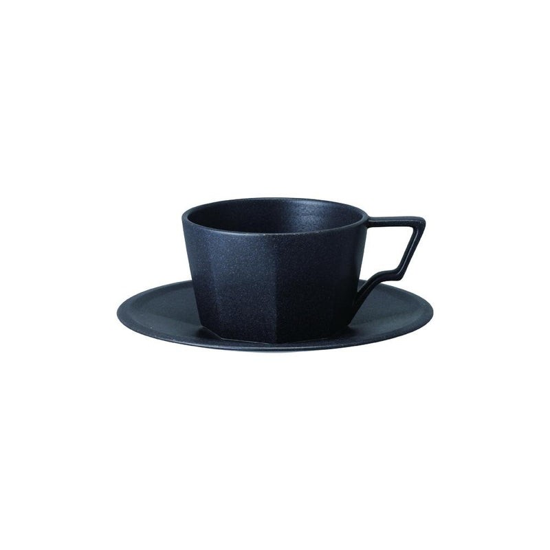 Kinto Oct Cup and Saucer - Black 300ml - Barista Shop
