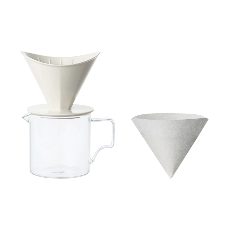 Kinto Oct Brew Jug Set - 2 cup - White (300 ml Jug) - Barista Shop