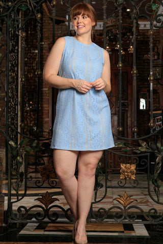 69e70c0f51823 Baby Blue Crochet Lace Sleeveless Party Curvy Dress Women Plus Size