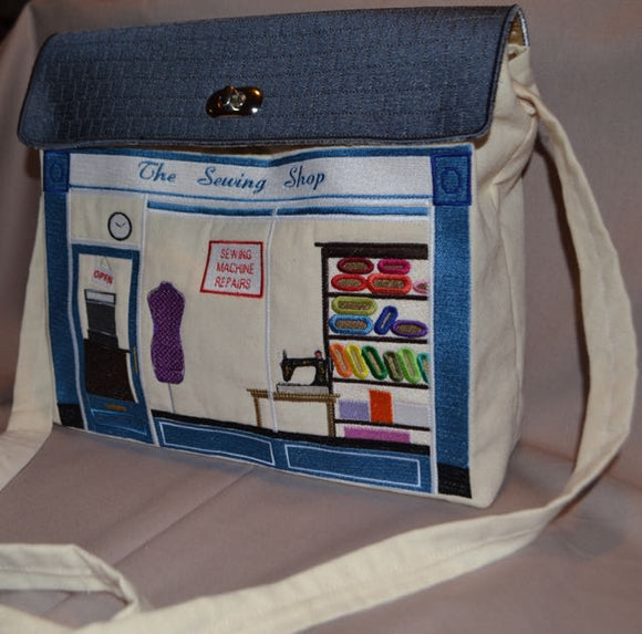 'THE SEWING SHOP' Shoulder Bag Embroidery Design Collection-MEDIUM SIZE for Brother/Babylock (Download)
