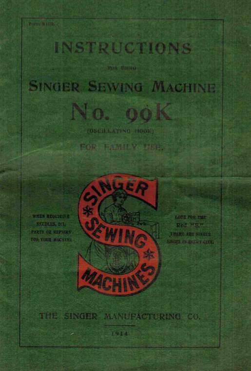 Singer 99K Instruction Manual (printed copy)
