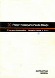 FRISTER + ROSSMANN PANDA MODELS 3, 5 & 6 INSTRUCTION MANUAL (printed)