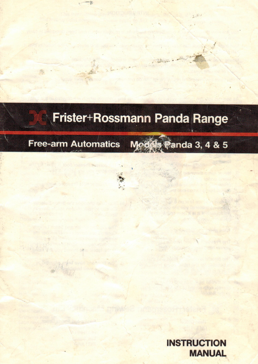FRISTER + ROSSMANN PANDA MODELS 3, 4 & 5 INSTRUCTION MANUAL (Printed)