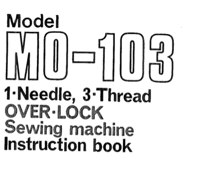 JUKI MO-103 Overlocker Instruction Manual (Printed)