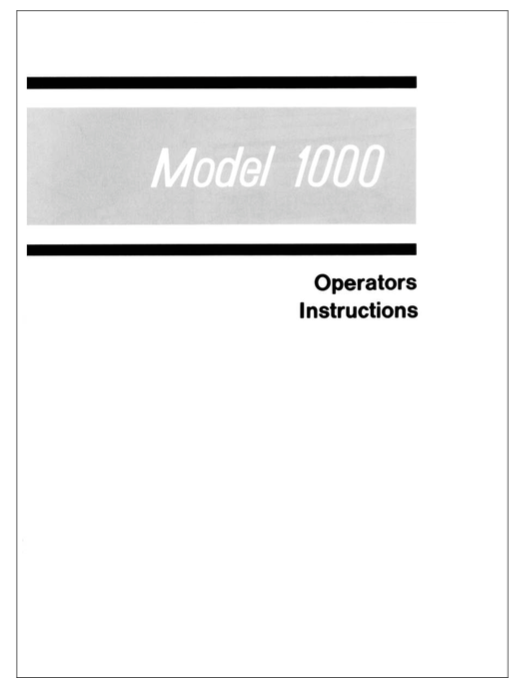 ELNA Primula Model 1000 Instruction Model (Printed)