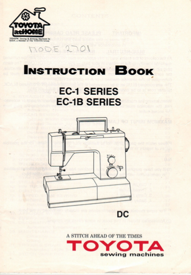 TOYOTA EC1 & EC1B Series (2202, 2701) Instruction Manual (Printed)
