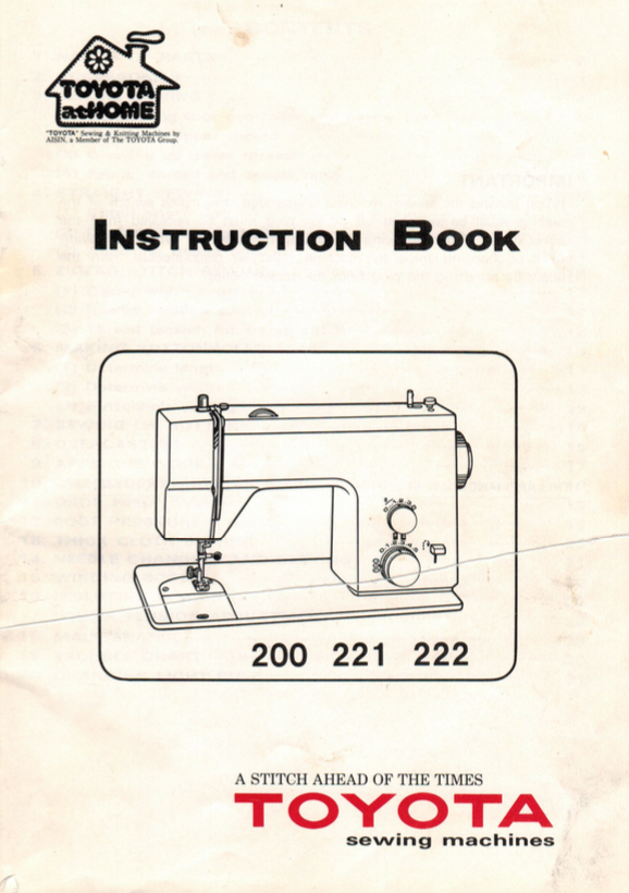 TOYOTA Models 200, 221 & 222 Instruction Manual (Printed)