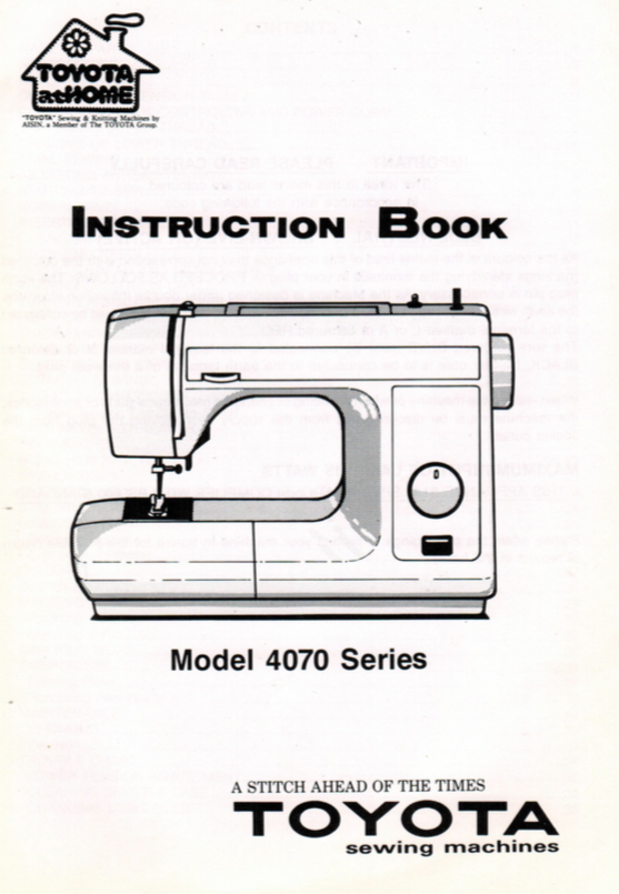 TOYOTA Model 4070 Series Instruction Manual (Printed)