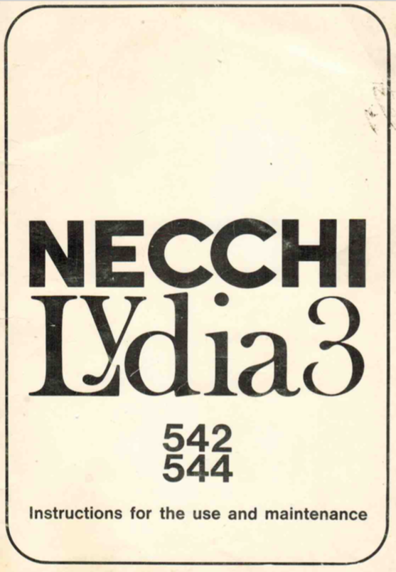 NECCHI Lydia 3 (542, 544) Instruction Manual (Printed)