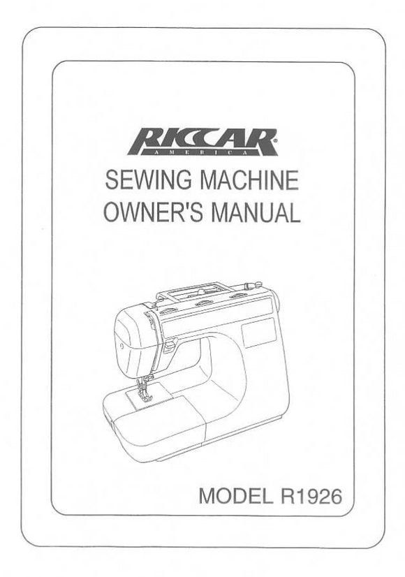 Riccar Model 1926 Instruction Manual (Download)