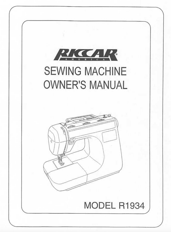 Riccar Model 1934 Instruction Manual (Download)