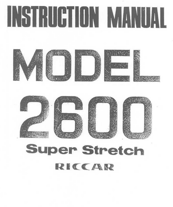 Riccar Model 2600 Instruction Manual (Download)