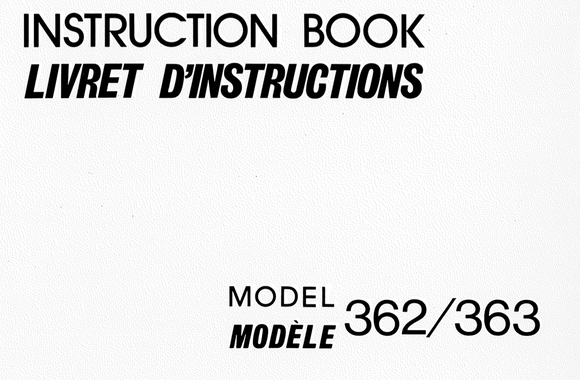 NEW HOME 362 & 363 Instruction Manual (Printed)