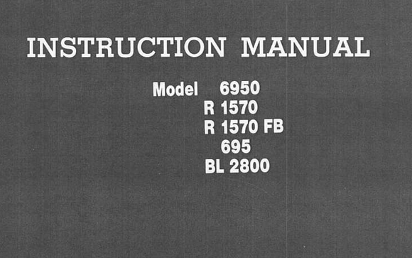 RICCAR 6950, R1570, R1570FB, 695 & BL2800 Models Instruction Manual (Printed)