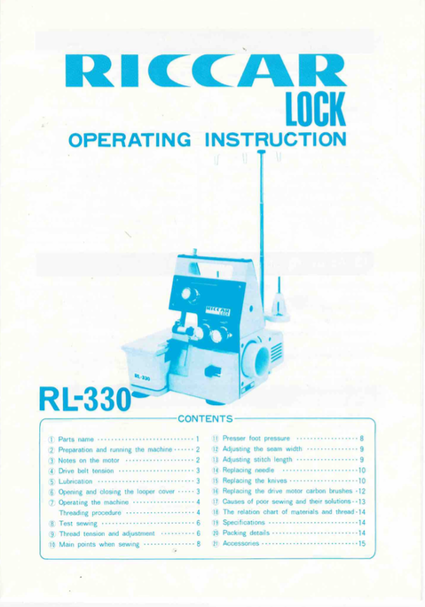Riccar Lock RL-330 Overlocker Instruction Manual (Printed)